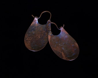 Oyster Shell Earrings Distressed Solid Copper
