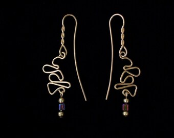 Mystic Celtic Earrings Polished Solid Brass with Miyuki Square Bead