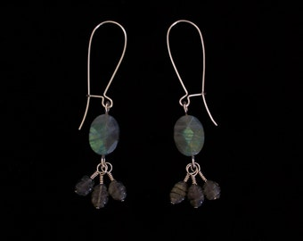 Dangle Earrings Argentium Sterling Silver with Faceted and Carved Labradorite Oval Stones