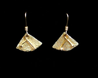 Embellished Wedge Earrings Hammered Solid Brass