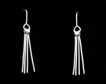 Rope Shoulder Duster Earrings Twisted Square Argentium Sterling Silver Wire