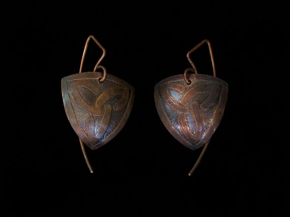 Celtic Trinity Knot Etched Domed Oxidized Solid Copper Earrings