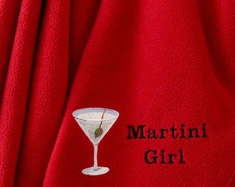 Martini Girl Red Fleece Blanket