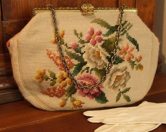Vintage 60's Maud Hundley Needlepoint Handbag