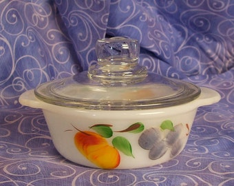 Anchor Hocking Fire King Gay Fad Fruits 1 Pt Casserole with Lid