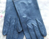 Gorgeous French Leather Navy Gloves