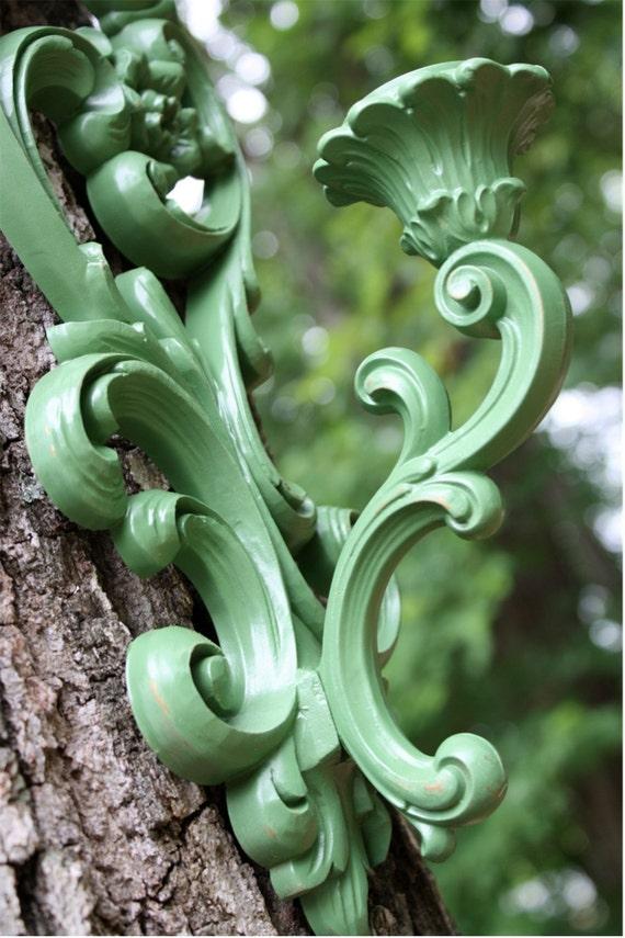 Ornate Vintage Emerald Green Sconces