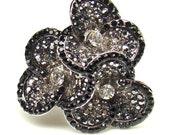 Black and Clear Swarovski Crystal...Flower Rhodium Plated...Bridal Ring size 8...