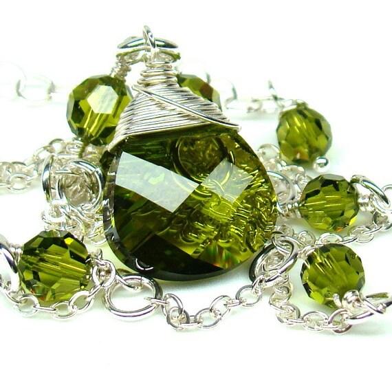 Reserve...Green Bridesmaids Necklace...Olivine Briolette Swarovski Crystal Sterling Silver...Green Bridal Necklace...Green Bridal Jewelry