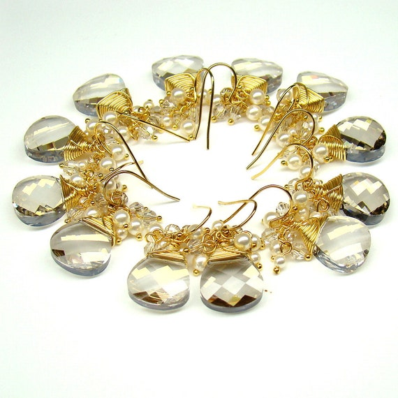 Swarovski Crystals Pearls...Briolette...22K Gold Plated...earrings...Reserve for Sara