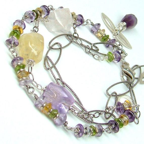 Gemstones Bracelet...Amethyst Peridot Citrine Stones Sterling Silver...Three Strand Chain Wire Wrap Rainbow  Peacock Bracelet...