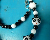 Cute Black and White Panda Glass Bead Asymmetrical Necklace (also for mommies and distractababies)
