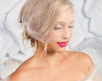 Double layer bandeau birdcage veil, bandeau veil, bridal veil, wedding veil, ivory veil, tulle birdcage veil - READY TO SHIP