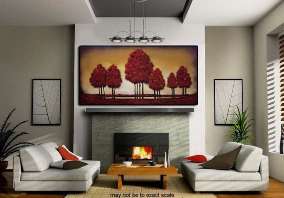 "Large Painting Original Huge Modern Contemporary Textured Abstract Tree Landscape Painting 48""x24""x.75"""