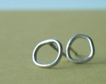 Organic Circle Sterling Post Earrings- Free Shipping, sterling earrings, sterling studs, silver earrings, silver studs