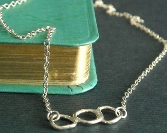 Organic Circle Necklace Sterling- Free Shipping