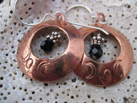 Copper dangle moon earrings with beads