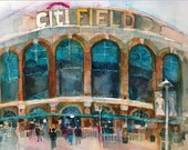 Print New York  Mets  - CitiFieldQueens, Print, 10 x  20 from an  Original Watercolor by Dorrie Rifkin