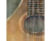 Mandolin  Print - Music Art Series from Original Watercolors - Size 8.5 x 11