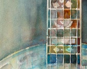 Art Print -Gold tone  Banjo Watercolor - Size  8.5 x 11