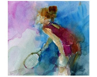 Original Watercolor or Print - Tennis Girl from US Open