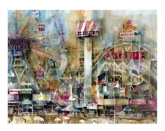 New York Art print Coney Island Wonder Wheel - Cyclone  - Clearance on 11 x 14 page Size.