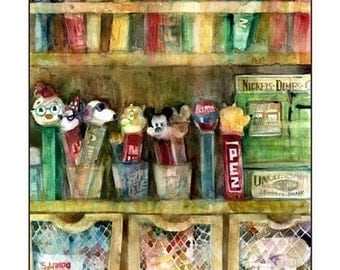 Pez Candy Art - Watercolor Print Size