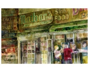Coney Island - New York - Nathan - Print from Original Watercolor
