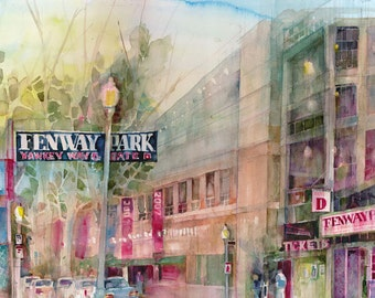 Art Print - Fenway Park - Red Sox  - Quaility Print from Original Watercolor - Great for Man Cave