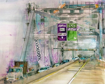 Art Print - Staten Island Bridge - Clearance on 11 x 14 Watercolor Print