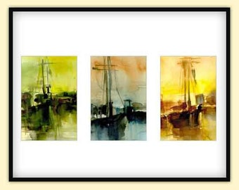 Art Print - Boston Harbor Sailing Boat Watercolor