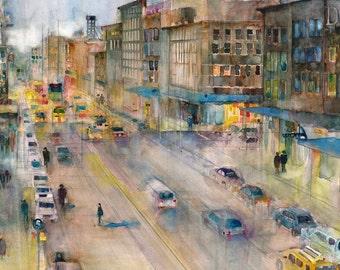 High Line - New York City Street View- Urban- Horizontal - Art Print  from Original Watercolors
