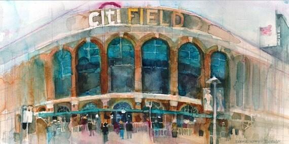 New York  Mets Art Print CitiField - Sports - New York Sports - Queens - Bar Decor