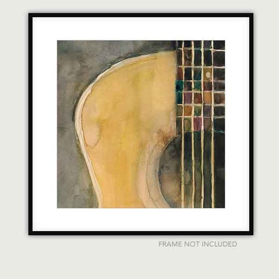 Guitar Prints Great for Homes - Acoustic Square Guitar Watercolor - Size 11 x 11