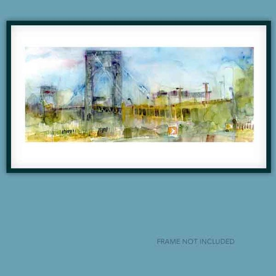 New York Print - George Washington Bridge - Watercolor Print Size 12 x 18