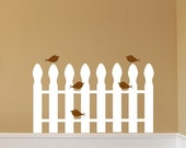 Birds on picket fence - Vinyl wall decal