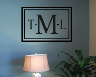 Classic Rectangle Monogram - Rectangle Wall Decal - Initial Wall Decal - Monogram Wall Decal - Vinyl Wall Decal