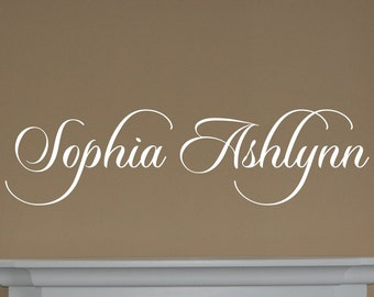 Personalized Script Name Monogram Decal - Name vinyl decal - Nursery decal - name monogram decal - teen wall decal - Vinyl Wall Decal