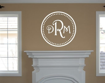 Monogram Initials within Circle Wall Decal - Monogram Wall Decal - Circle Initial Wall Decal - Vinyl Wall Decal