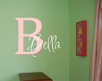 Personalized Name with Initial Decal - Girl Name with Initial Wall Decal - Nursery Wall Decal - Name Decal - Custom Name Vinyl Wall Decal
