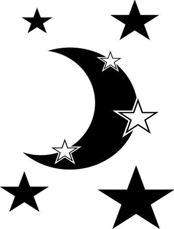Moon and stars vinyl wall decal for Amazing look with moon and stars wall decals