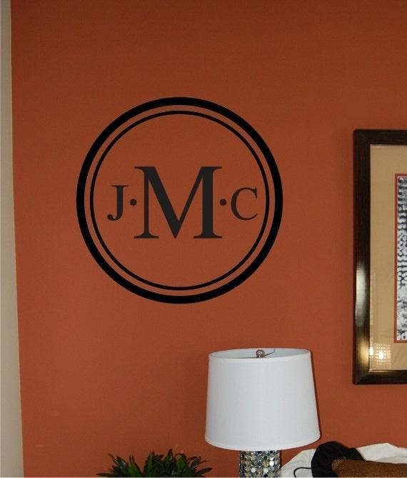 Family Monogram Wall Decal - Wedding Decal - Personalized wall decal - personalized monogram - family name monogram - Vinyl Wall Decal