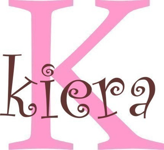 Girls name with initial - Vinyl wall decal