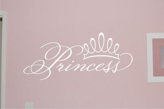 Princess Crown Wall Decal - Girl Bedroom Wall Decal - Princess Decal - Girl Decal - Girl Nursery Decal - Girl Wall Decal - Vinyl Wall Decal