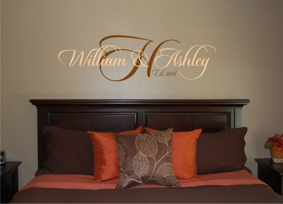 His and Hers Established Monogram Wall Decal - Name and Initial Wall Decal - Master Bedroom Wall Decal - Wedding Decal - Personalized Decal