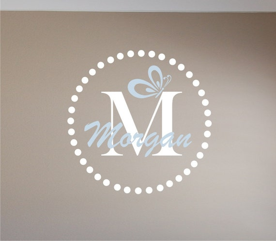 Girls Circle Name & Initial with Butteryfly Wall Decal - Vinyl Wall Decal - Girls Name with Butterfly Wall Decal - Nursery Wall Decal