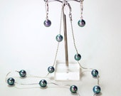 Black Japanese Akoya pearl and sterling silver tin cup necklace and earring set