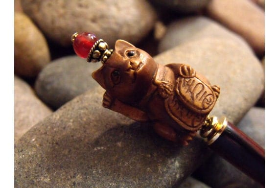 Maneki Neko Cat Single Hairstick- Carved Wood Lucky Cat, Carnelian Gemstone, Vermeil