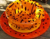 Fused Glass Dinner Plates and Bowl Brilliant