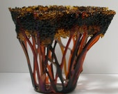 Fused Glass Autumn Tangled Tree Vessel